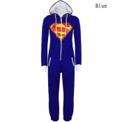 KDQ22 Unisex Men Women Onesie Superman & Batman Hooded Zip Front Jumpsuit