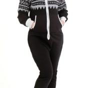 Juicy Trendz Stilvolle Dame-Frauen ein Reißverschluss Body Aztec Hoodie-Kapuzenpulli Overall Overall Trainingsanzug