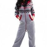 Sportlicher DSguided Norwegen Muster Onesie Jumpsuit Overall Einteiler Grau, Größe:s/m
