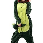 LATH.PIN Jumpsuit Tier Karton Fasching Halloween Kostüm Sleepsuit Cosplay Fleece-Overall Pyjama Schlafanzug Erwachsene Unisex Lounge Nachtwäsche , Dino
